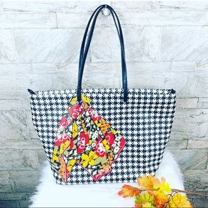 Rare Vera Bradley Leather Checkered Tote Bag Large